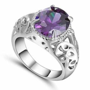 CZ Amethyst Stones White 10K Gold Filled Ring
